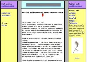 Internetseite: der Anfang